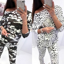 Fashion Camouflage Printed Long Sleeve Sweatshirt + Pants Two-piece Set