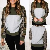 Fashion Leopard Camouflage Spliced Long Sleeve Round Neck Sweatshirt