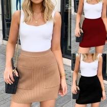 Mini Falda de Tejido de Punto Talle Alto