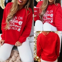 Fashion Letters Printed Long Sleeve Round Neck Sweatshirt