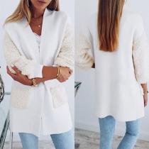 Fashion Plush Spliced Long Sleeve Front-pocket Thin Cardigan