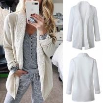 Fashion Solid Color Long Sleeve Plush Lining Cardigan