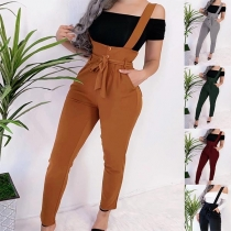 Fashion Solid Color High Waist Slim Fit Overalls