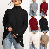 Fashion Solid Color Long Sleeve High Collar Side-button Sweater