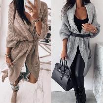 Fashion Solid Color Dolman Sleeve Loose Knit Cardigan
