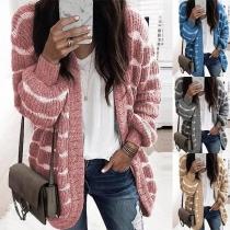Fashion Lantern Sleeve Loose Knit Cardigan