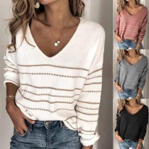 Fashion Long Sleeve V-neck Striped Knit Top