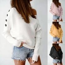 Sexy Oblique Shoulder Long Sleeve Solid Color Knit Top