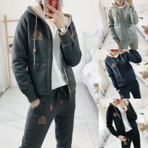 Fashion Plush Lining Hooded Sweatshirt Coat Pants Sports Suit