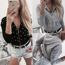 Chic Style Long Sleeve Hooded Beaded Sweatshirt Jacket