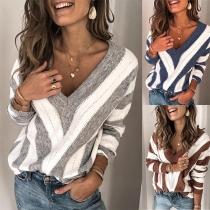 Jersey/Suéter de Bicolor Pico Escote Manga Larga