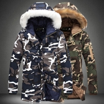 Fashion Camouflage Printed Faux Fur Spliced Hooded Man's Padded Coat