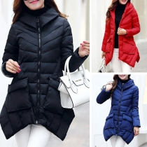 Fashion Solid Color Stand Collar Irregular Hem Hooded Padded Coat
