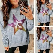 Fashion Star Printed Long Sleeve Round Neck Sweatshirt
