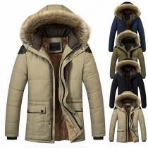Fashion Faux Fur Spliced Hooded Plush Ling Man's Padded Coat