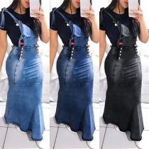 Fashion High Waist Slim Fit Denim Suspender Skirt