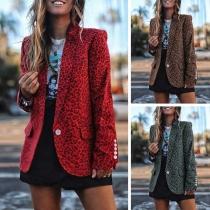 Fashion Leopard Printed Long Sleeve Blazer
