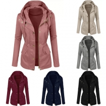 Fashion Solid Color Long Sleeve Hooded Slim Fit Jacket