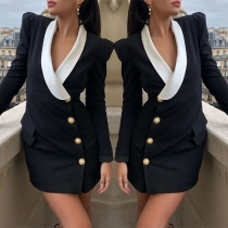 OL Style Long Sleeve Contrast Color V-neck Front-button Dress