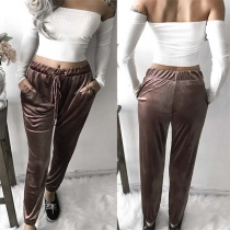 Fashion Solid Color Elastic Waist Casual Pants