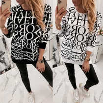 Fashion Letters Printed Long Sleeve Round Neck Loose Sweatshirt