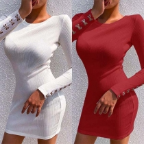Fashion Long Sleeve Round Neck Slim Fit Knit Dress