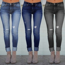 Fashion Middle-waist Slim Fit Ripped Jeans