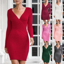 Sexy Deep V-neck Long Sleeve Solid Color Slim Fit Knit Dress