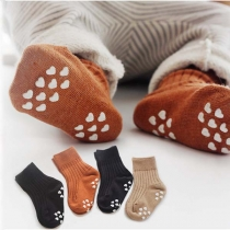 Fashion Solid Color Anti-slip Children's Socks 2 Pairs/Set