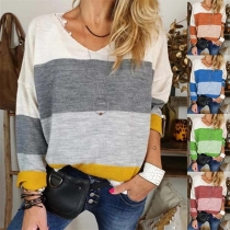 Fashion Contrast Color Long Sleeve V-neck T-shirt