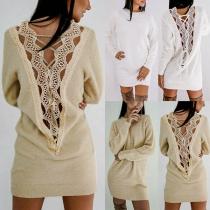 Vestido Suelto de Espalda Descubierta  con Encaje Calado Manga Larga