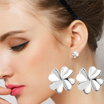 Fresh Style Silver-tone Four Leaf Clover Shaped Stud Earrings