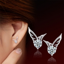 Fashion Rhinestone Inlaid Wing Shaped Stud Earrings