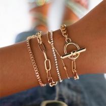 Retro Style Rhinestone Inlaid Gold-tone Bracelet Set 5 pcs/Set