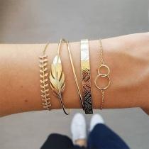 Fashion Rhinestone Inlaid Leaf Shaped Bracelet Set 5 pcs/Set