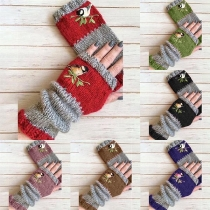 Fashion Contrast Color Embroidered Spliced Fingerless Gloves