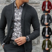 Fashion Solid Color Long Sleeve Single-breasted Man's Knit Cardigan