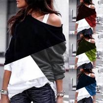 Blusa de Tricolor de Escote Asimétrico Manga Larga