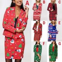 Fashion Christmas Printed Long Sleeve Blazer + Skirt Two-piece Set