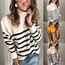 Fashion Long Sleeve Mock Neck Striped Spliced Knit Top