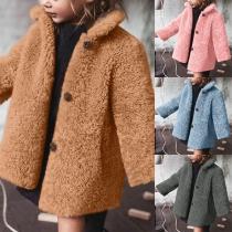Fashion Solid Color Long Sleeve Children Plush Coat