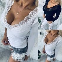 Sexy Blusa Pico Escote de Encaje Manga Larga