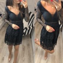 Sexy Vestido de Encaje de Pico Escote Talle Alto Manga Larga