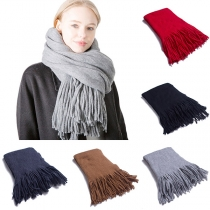 Fashion Solid Color Tassel Hem Scarf