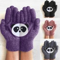 Guantes de Punto con Estampado de Panda Linda
