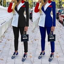 Conjunto de OL Estilo de Bicolor : Blazer + Pantalón