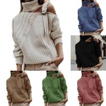 Sexy Off-shoulder Long Sleeve Solid Color Turtleneck Sweater