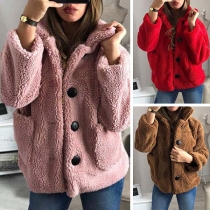 Fashion Solid Color Long Sleeve Stand Collar Plush Coat