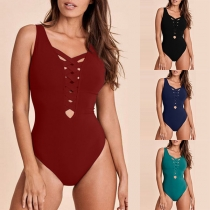 Sexy Backless Crossover Lace-up Solid Color One-piece Swimsuit