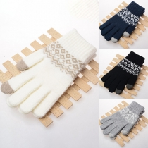 Fashion Contrast Color Printed Knit Gloves